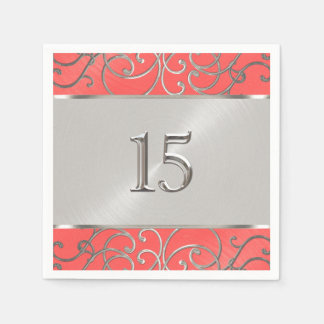 Quinceanera Coral Pink and Silver Filigree Swirls Paper Napkin