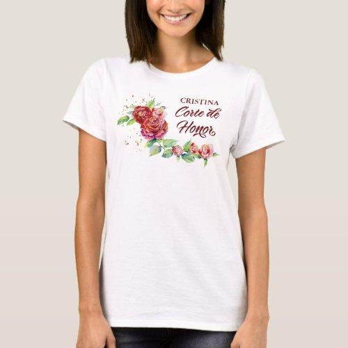 Quinceanera Corte de Honor Elegant Red Rose Floral T_Shirt