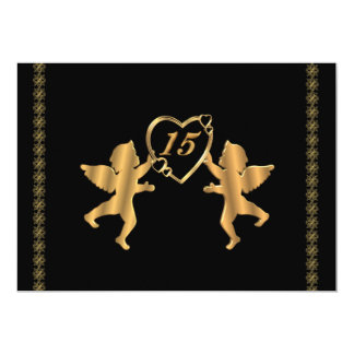 Quinceanera cupids for 15th Birthday on black 5x7 Paper Invitation Card