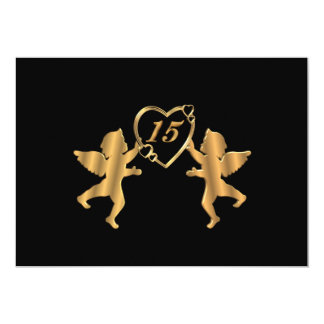 Quinceanera cupids for 15th Birthday on black Invite