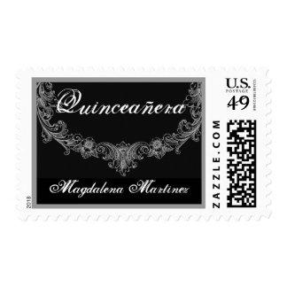 Quinceanera Custom Name Black White Vintage Frame Postage Stamp