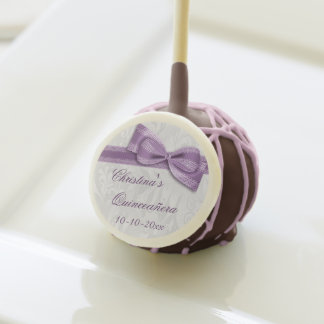Quinceañera Damask and Faux Bow Cake Pop Cake Pops