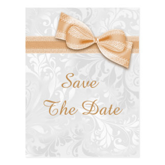 Quinceañera Damask and Faux Bow Save The Date Postcard