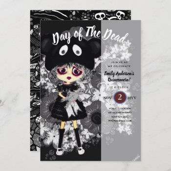 Quinceanera Day of The Dead GOTH Girl Sugar Skulls Invitation