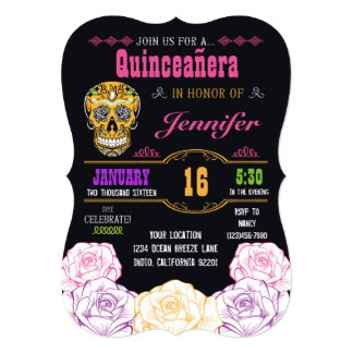Quinceañera Day of the Dead Sugar Skull Invitation