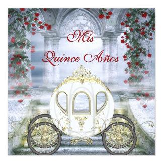 """Quinceanera de princesa Carriage Enchanted blanco Invitación 5.25"""" X 5.25"""""""