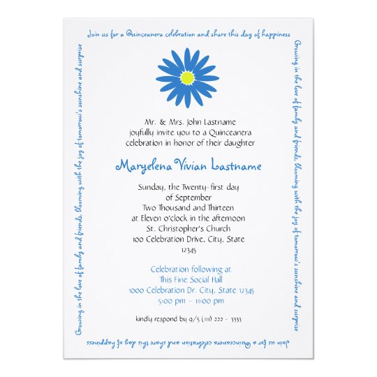 Quinceanera Delightful Daisy Message Text Blue Card