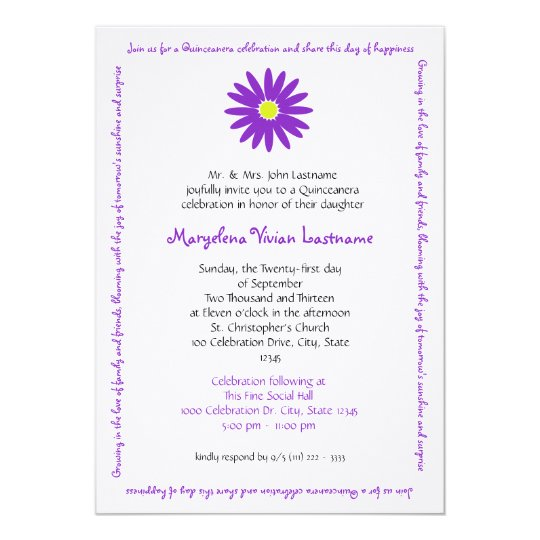 Quinceanera Delightful Daisy Message Text Purple Card