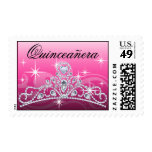 Quinceanera Diamond Tiara pink Postage Stamps