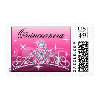 Quinceanera Diamond Tiara pink Stamp