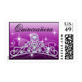 Quinceanera Diamond Tiara purple Stamp