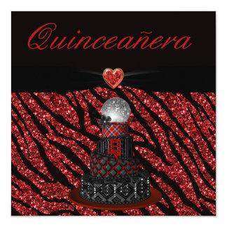 Quinceanera Disco Diva Cake & Zebra Glitter Print Card