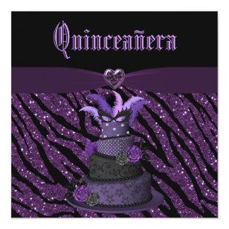 Quinceanera Diva Cake & Printed Zebra Glitter Card