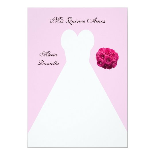 Quinceanera Dress on Pink Quince Anos Card