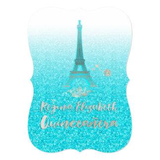 """Quinceanera/Eiffel/azul/princesa/corona de Tiffany Invitación 5"""" X 7"""""""