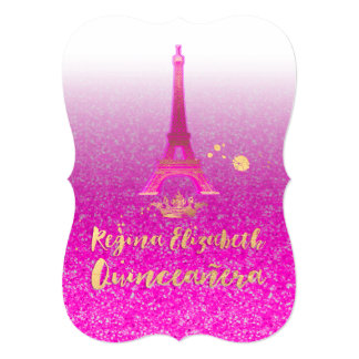 Quinceanera/Eiffel/Neon Pink/Princess/Crown Card