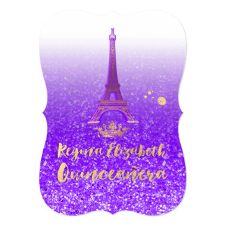 Quinceanera/Eiffel/Neon Purple/Princess/Crown Card