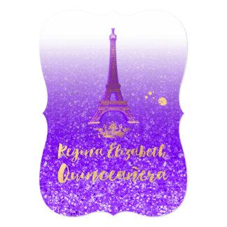 """Quinceanera/Eiffel/púrpura de neón/princesa/corona Invitación 5"""" X 7"""""""