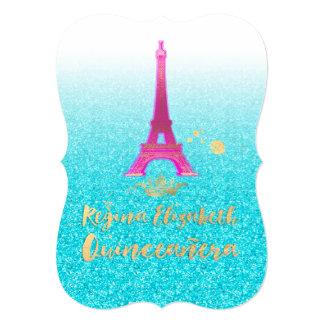 "Quinceanera/Eiffel/rosa de neón/princesa/corona Invitación 5"" X 7"""