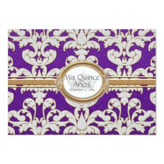 Quinceanera- Elegant Floral Leaf Damask Baroque Card