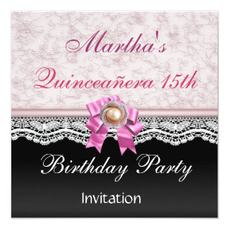Quinceañera Elegant Pink Lace Birthday Party Custom Invitations
