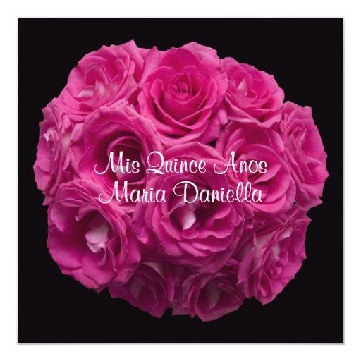 Quinceanera Elegant Pink Rose Bouquet on Black Card