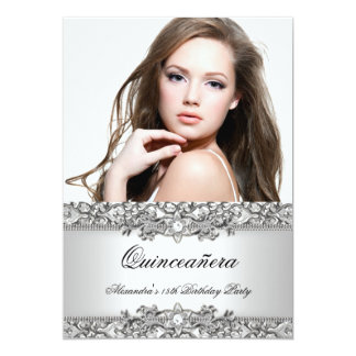 Quinceanera Elegant Silver White Diamond Photo Card