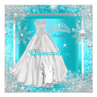 Quinceanera Elite Elegant Teal Birthday Party Card