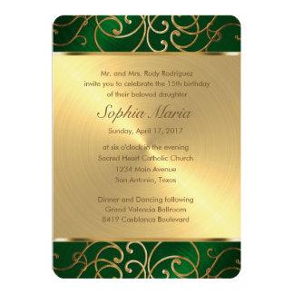 Quinceanera Emerald Green and Gold Filigree Swirls Card