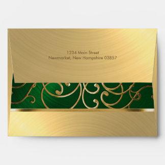 Quinceanera Emerald Green and Gold Filigree Swirls Envelope