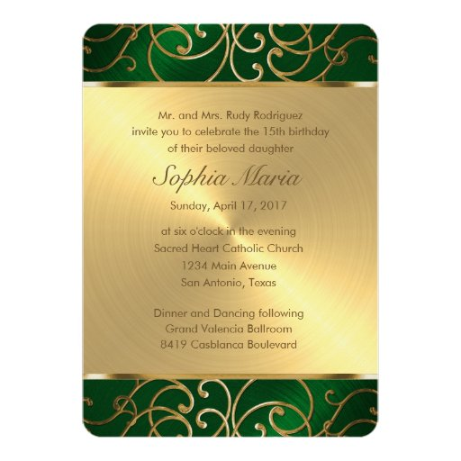 Quinceanera Emerald Green and Gold Filigree Swirls 5x7 ...