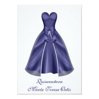 Quinceañera español Invitación vestido elegante Card