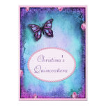 """Quinceañera Faux Glitter, Butterfly, Roses & Lace 5"""" X 7"""" Invitation Card"""