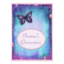 Quinceañera Faux Glitter, Butterfly, Roses & Lace Invitation