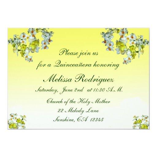 """Quinceañera floral amarillo invitación 5"""" x 7"""""""