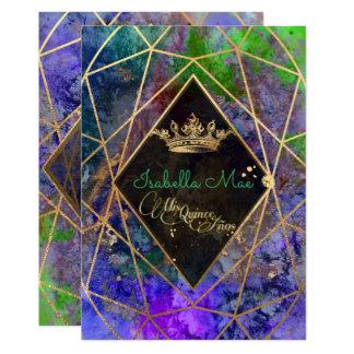 Quinceanera/Galaxy/Neon Purple/Princess/Crown Card