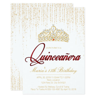 Quinceanera, Glam Glitter Invitations