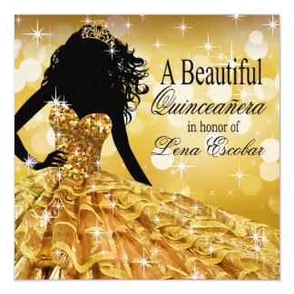 Quinceanera Glitter Ball Gown | gold Card