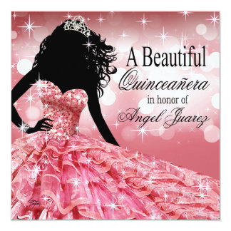 Quinceanera Glitter Ball Gown | pink Card
