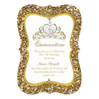 Quinceanera Glitter Gold White Pearl Tiara Invite