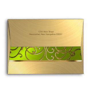 Quinceanera Gold and Lime Filigree Swirl Border Envelope