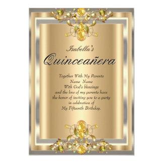 Quinceanera Gold Beige Yellow Gems 15 Birthday Card