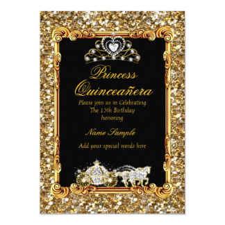 Quinceanera Gold Black Horse Carriage Fairytale Card