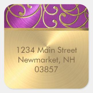 Quinceañera Gold Filigree Swirls Square Sticker