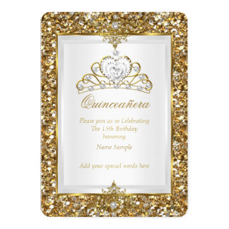 Quinceanera Gold Glitter White Pearl Tiara 2 Card