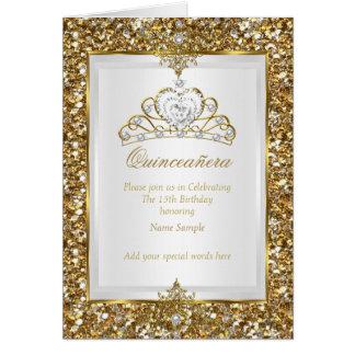 Quinceanera Gold Glitter White Pearl Tiara Photo Card