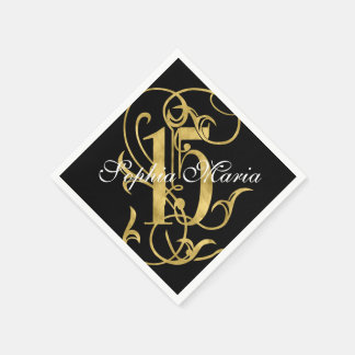 Quinceanera Gold Leaf Look Ornate 15 Any Color Napkin