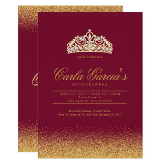Quinceanera Gold & Sparling Invitations