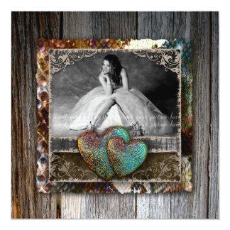 "Quinceanera Grad Sweet 16 Vintage Snakeskin Photo 5.25"" Square Invitation Card"