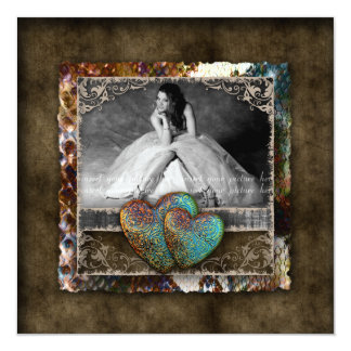 Quinceanera Grad Sweet 16 Vintage Suede Photo Card